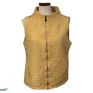 Yellow quilted zip up vest puffy puffer